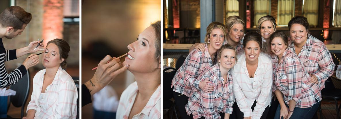 Photos of the bride getting ready with her bridesmaids, shots of make up getting applied.