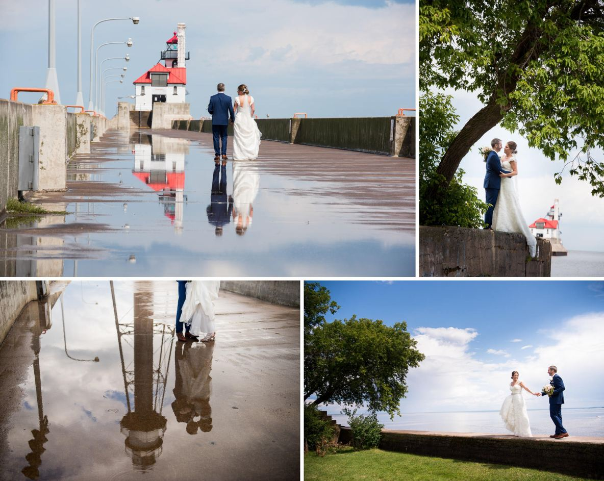 Bride and groom photos with blue sky in the background, and rainwater reflected off the pavement.