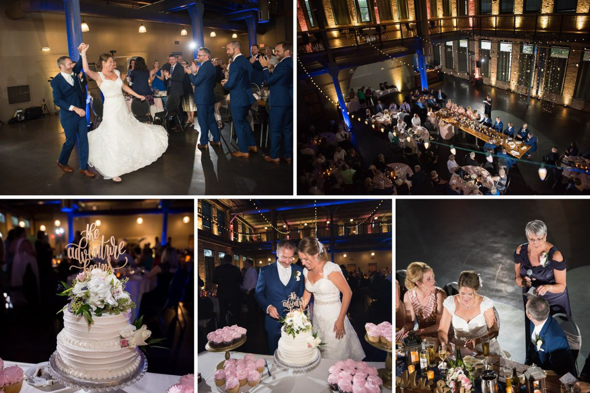 Photos of the reception, including the cutting of the cake.