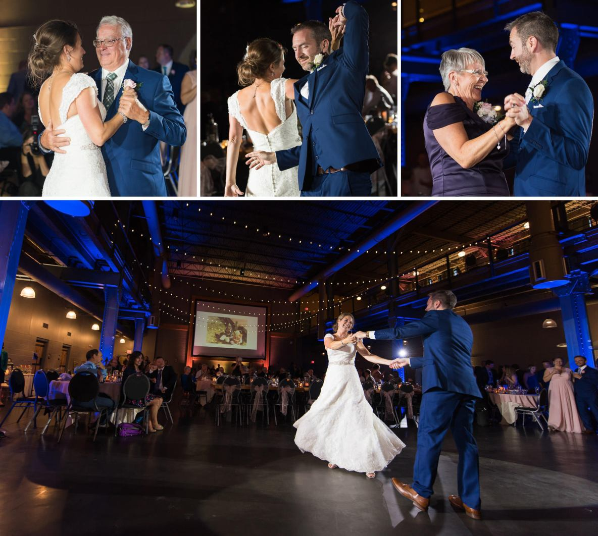Photos of the bride and groom dancing on their wedding night.