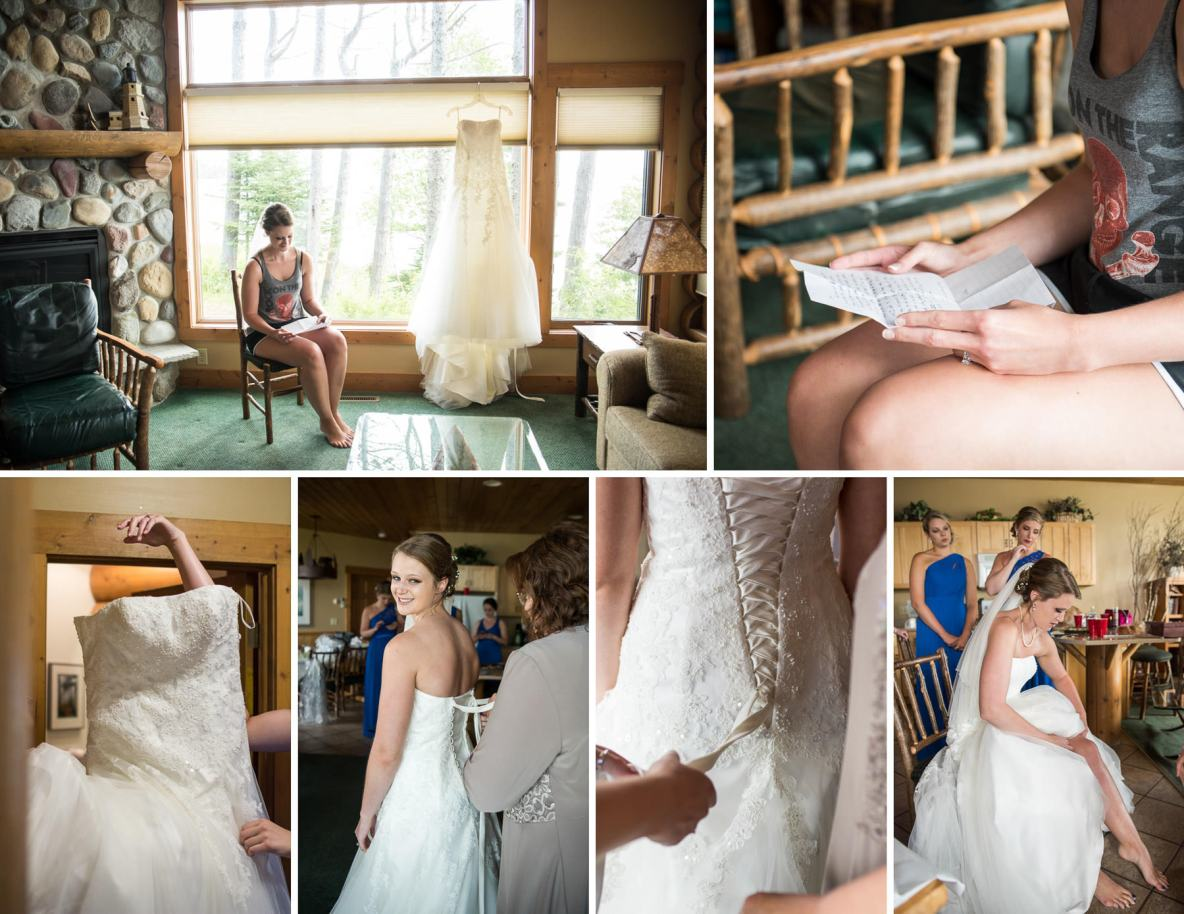 Photos of the bride getting ready-- getting dress tied on and reading notes.