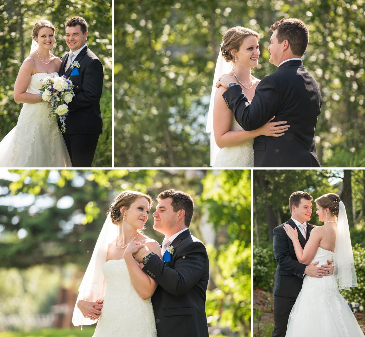 Outdoor photos of the bride and groom with green trees in the background.