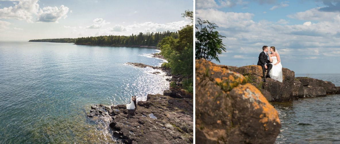 Photos of the bride and groom with Lake Superior in the background.