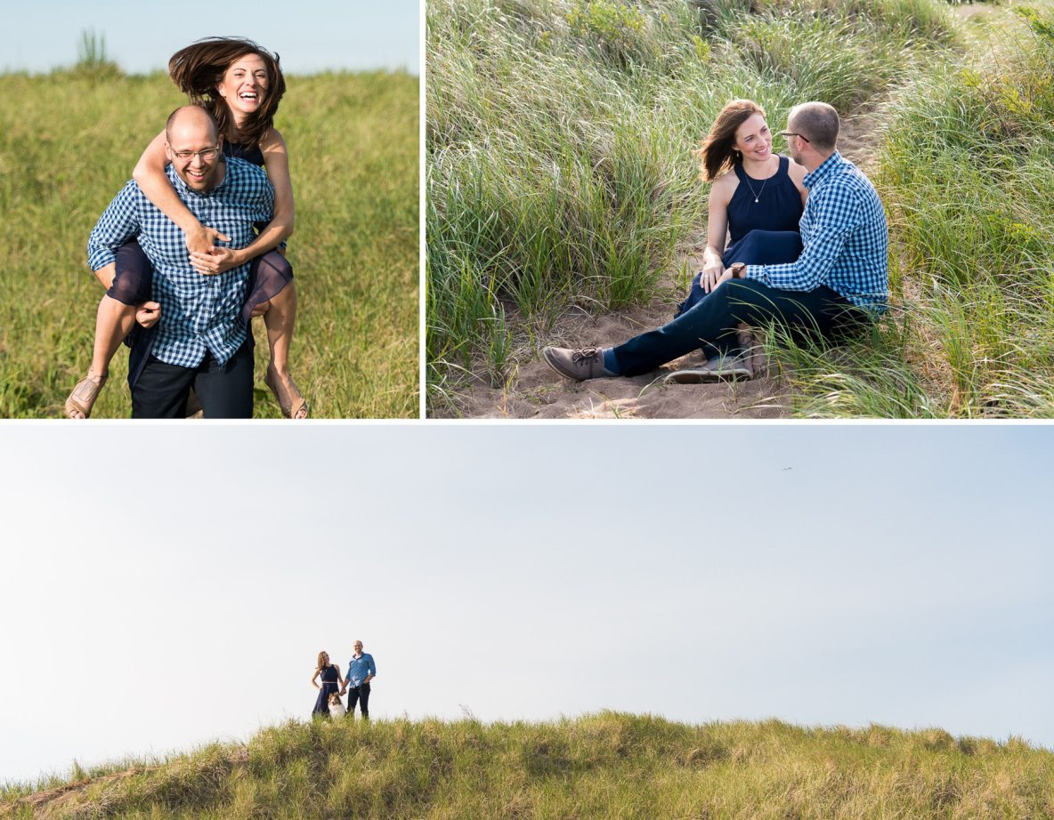 Engagement photos on sand dunes.