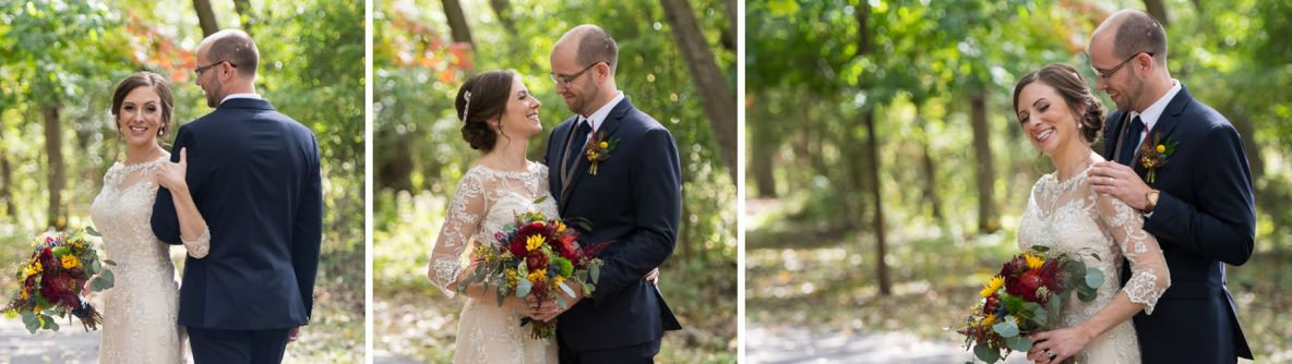 Bride and groom portraits on wedding day outside with green trees in background.