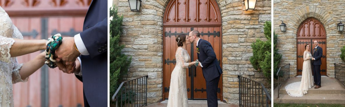 Bride and groom portraits outside church with brick wall in background.