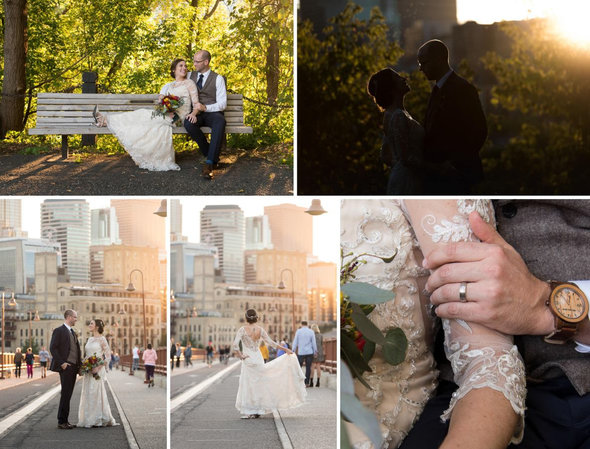 Bride and groom portraits on the Stone Arch Bridge in Minneapolis, MN.