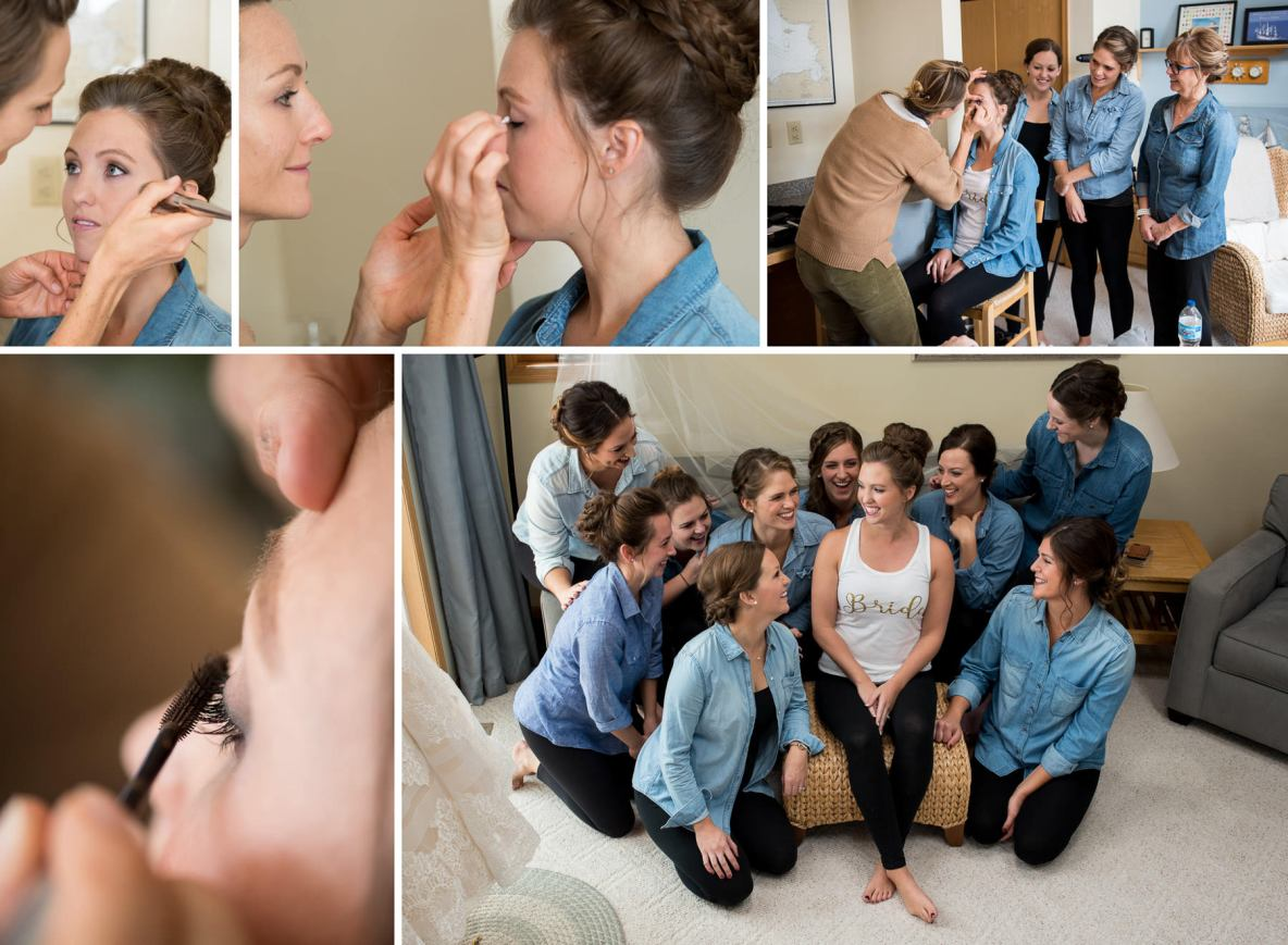 Bride and her bridesmaids getting ready on wedding day.