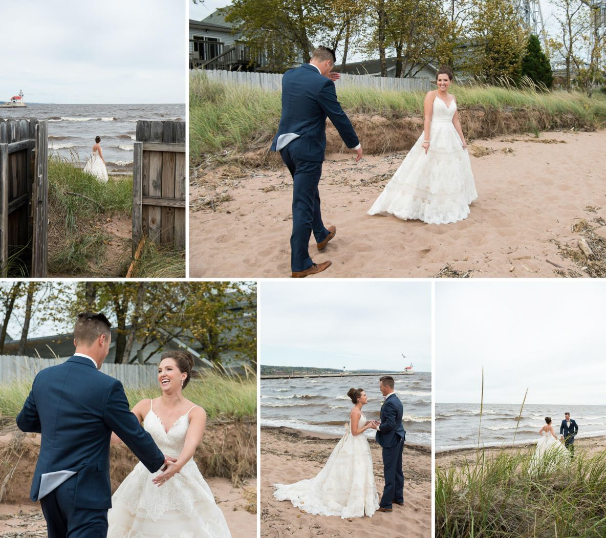 Bride and groom photos on the beach.