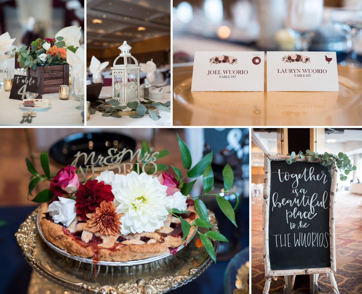 Photos of the reception, including name tags, desserts and table decorations.
