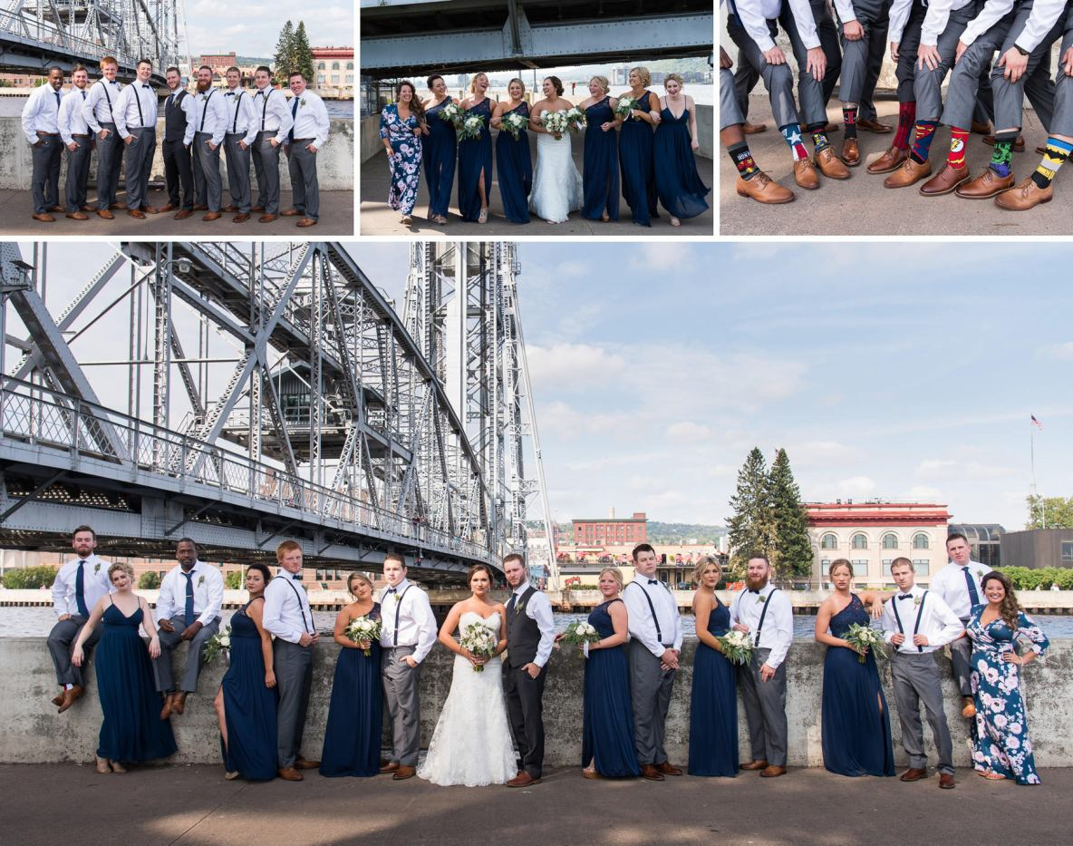 Photos of the wedding party in Canal Park in front of the lift bridge.