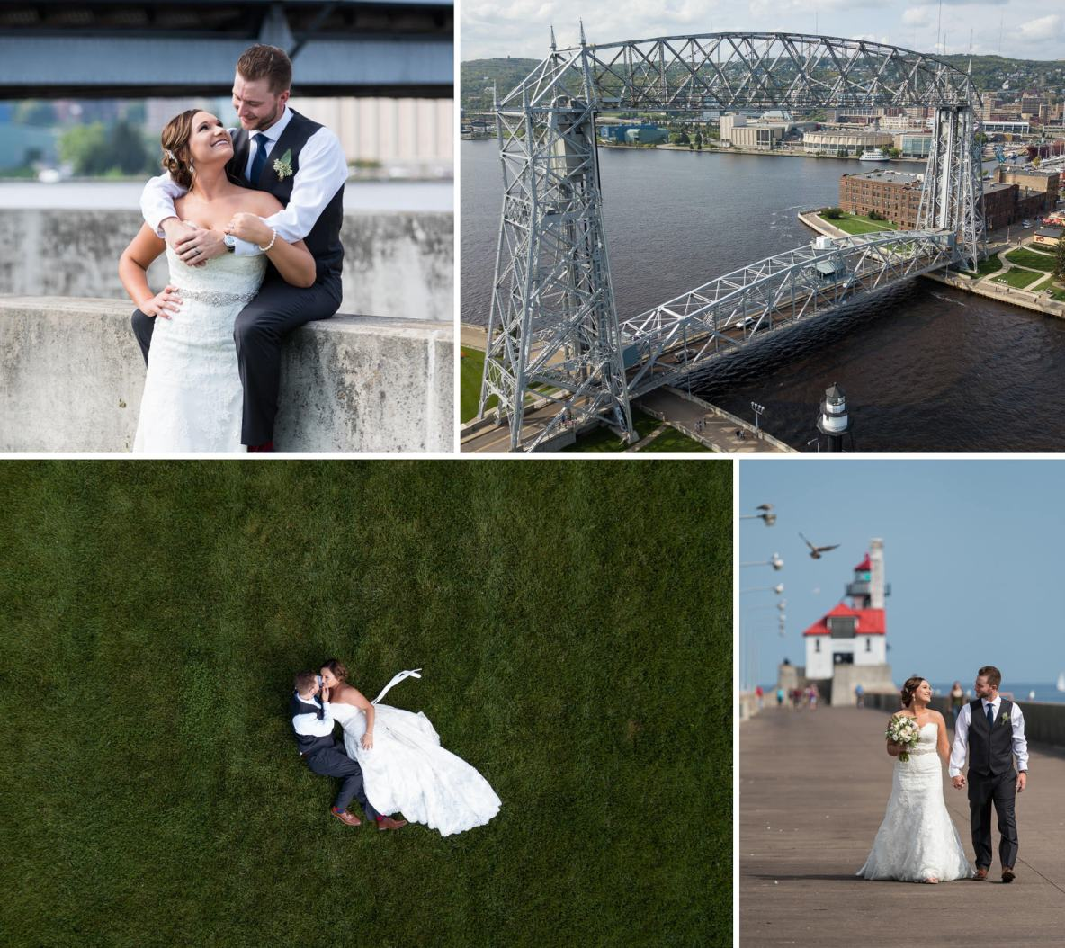 Photos of the bride and groom in Duluth, MN.