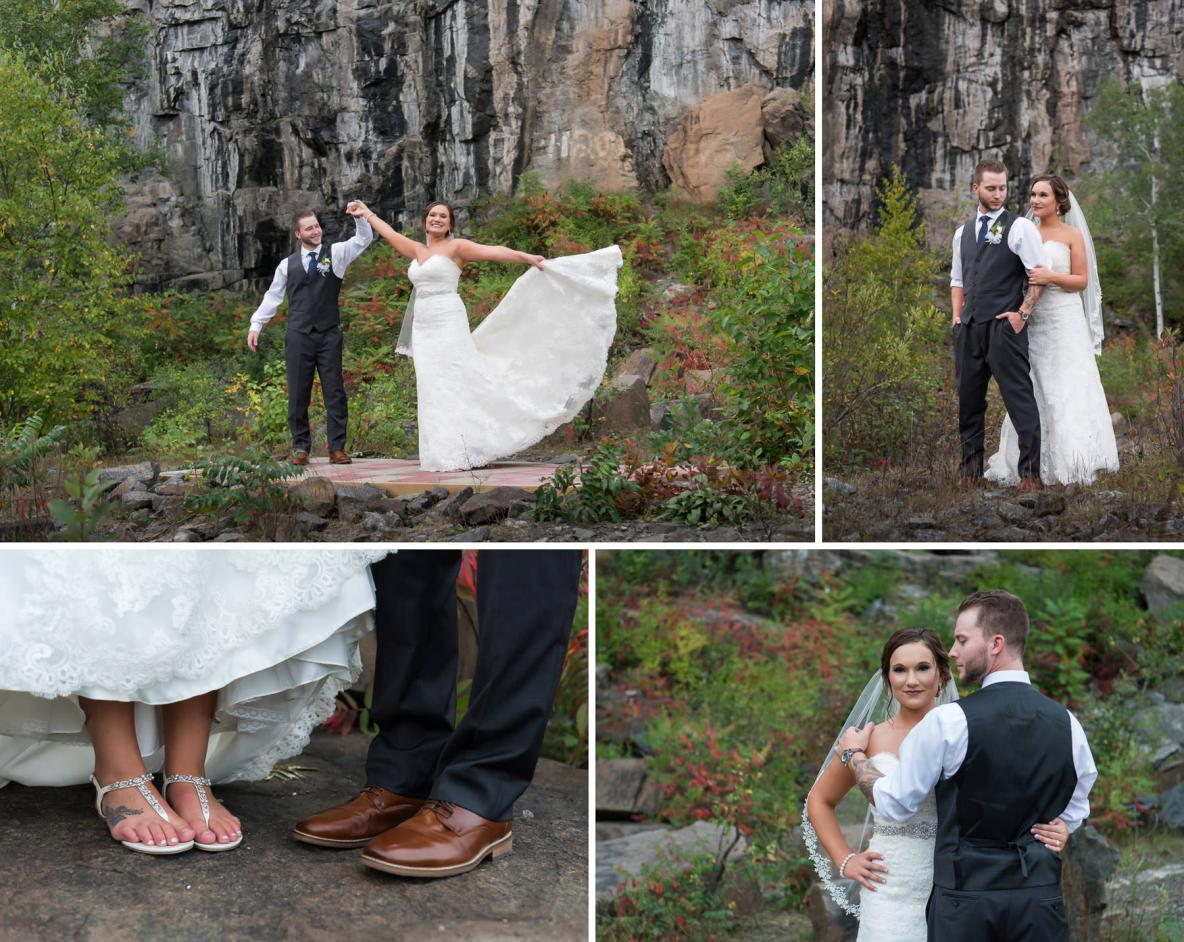 Photos of the bride and groom outside in nature on wedding day.