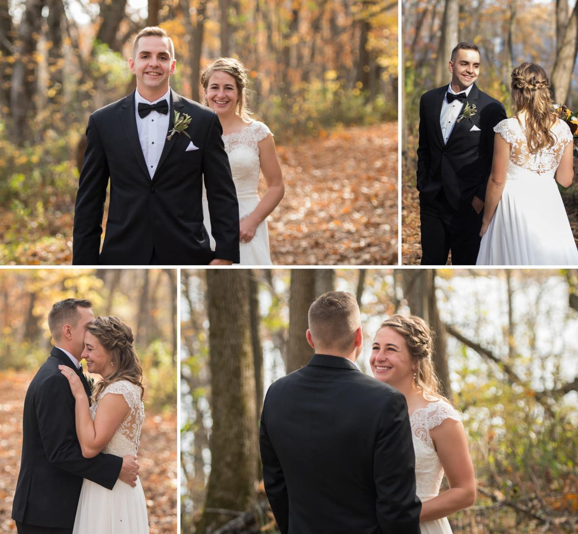 First look photos of the bride and groom outside in nature.
