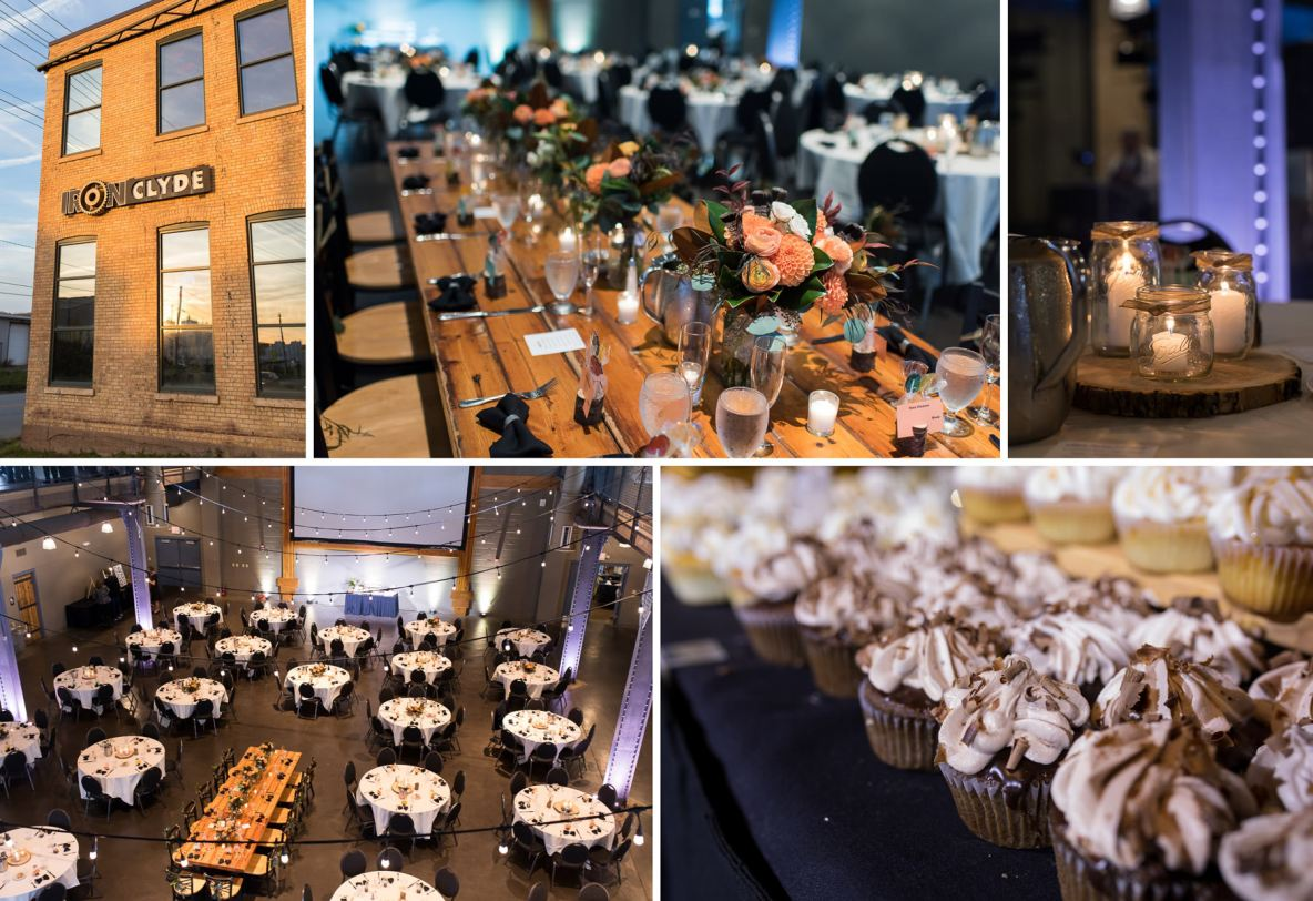 Photos of the reception, including desserts, table setting, and candles.