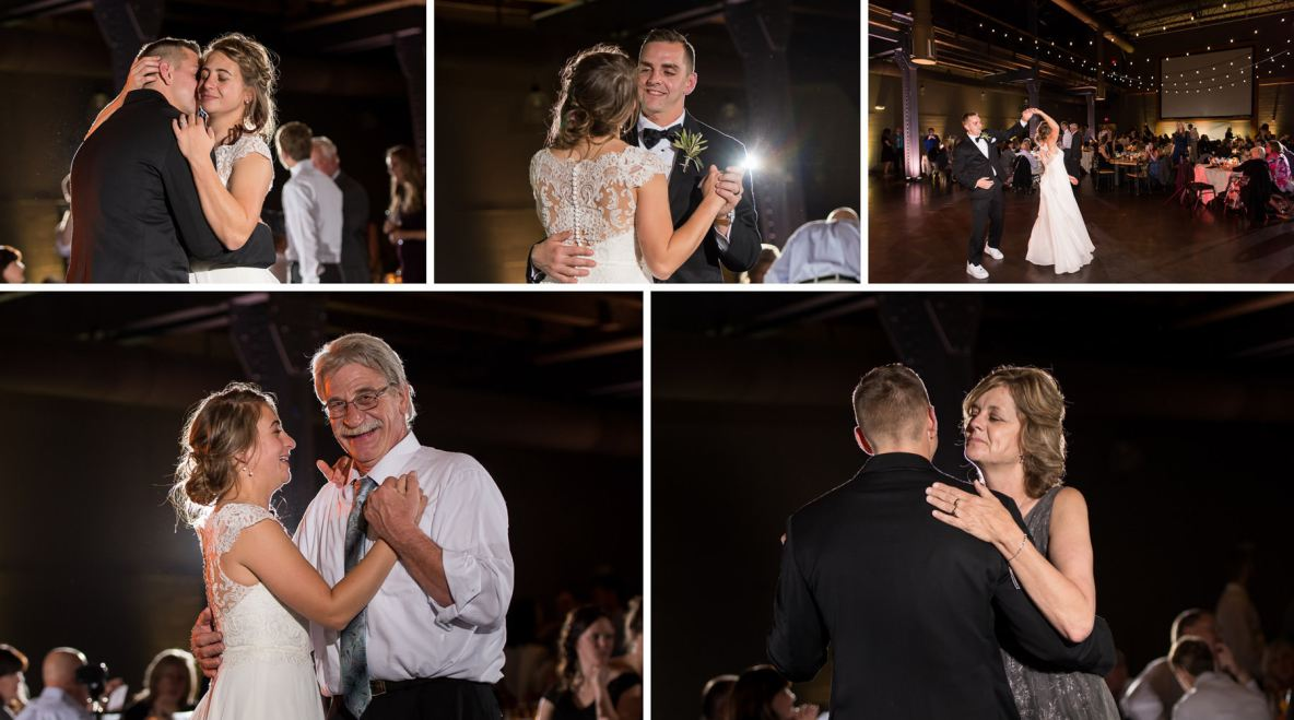 Bride and groom dance with their parents.