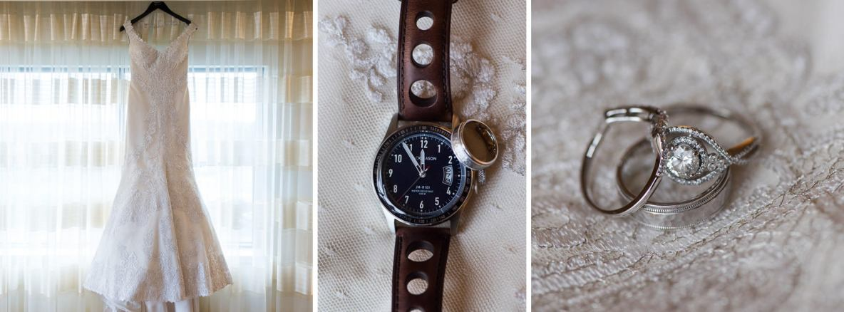 Wedding attire details, including photos of the rings, dress and watch.