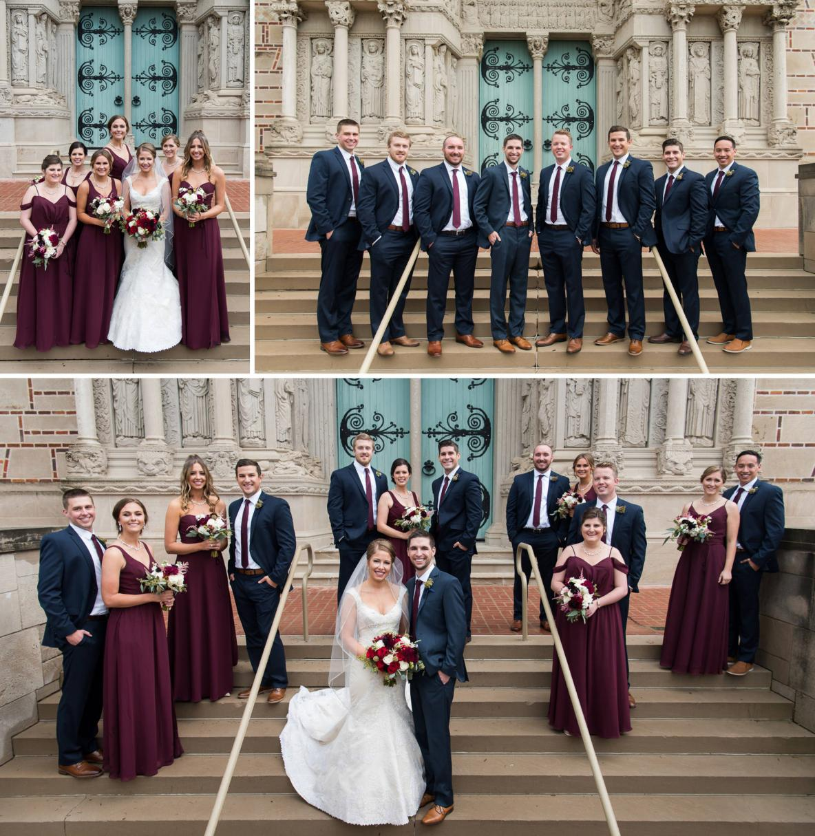 Wedding party photos outside St. Kate's University on stairs with building in background.