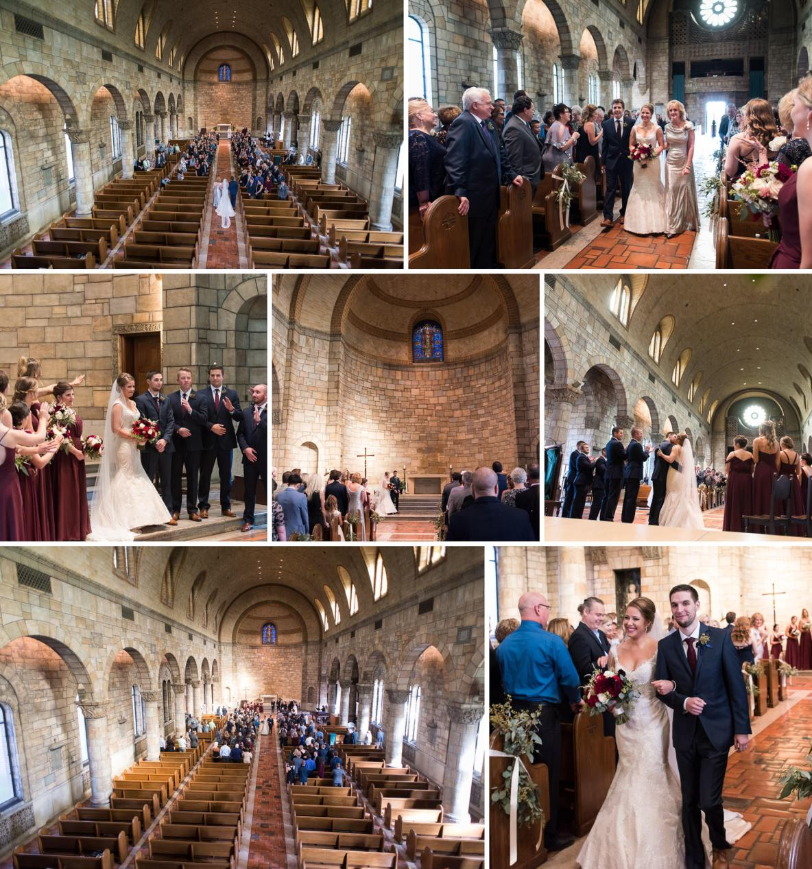 Photos of the indoor ceremony, including aisle photos.