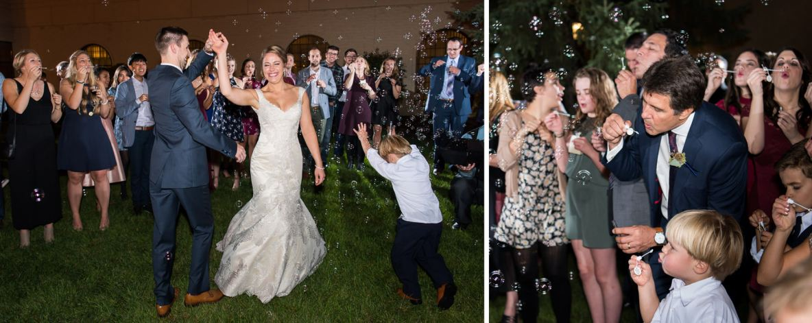 Photos of the bride and groom surrounded by bubbles outside.