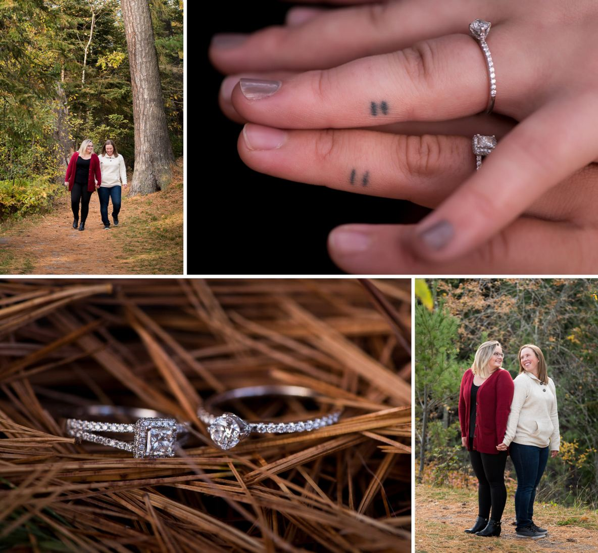 Engagement session outside in fall colors, photos of engagement ring and matching equal sign tattoos.