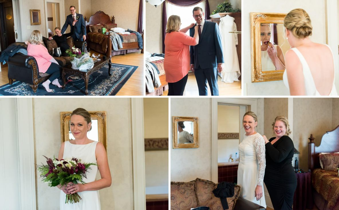 Getting ready photos of bride and groom.