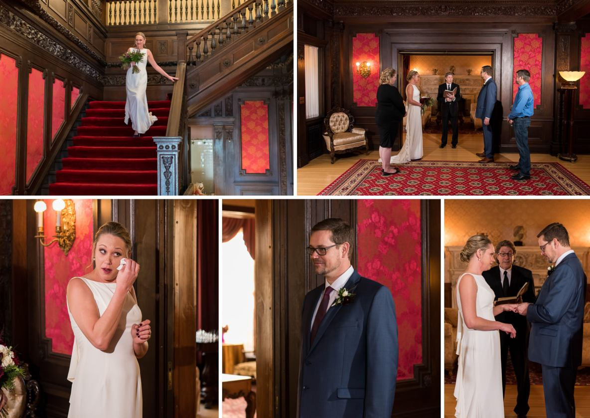 Photos of the indoor, intimate ceremony at the Cotton Mansion.