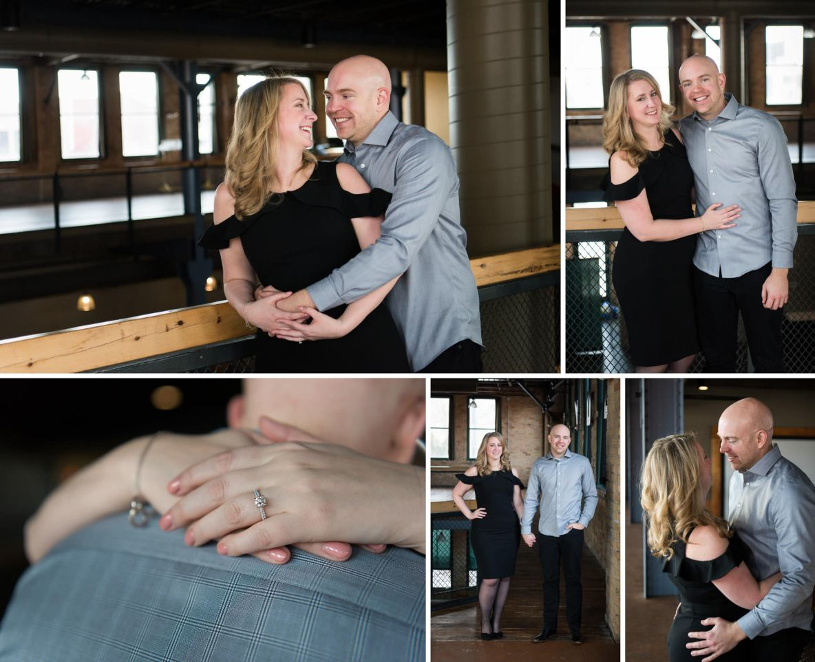 Indoor engagement photos taken at Clyde Iron Works.