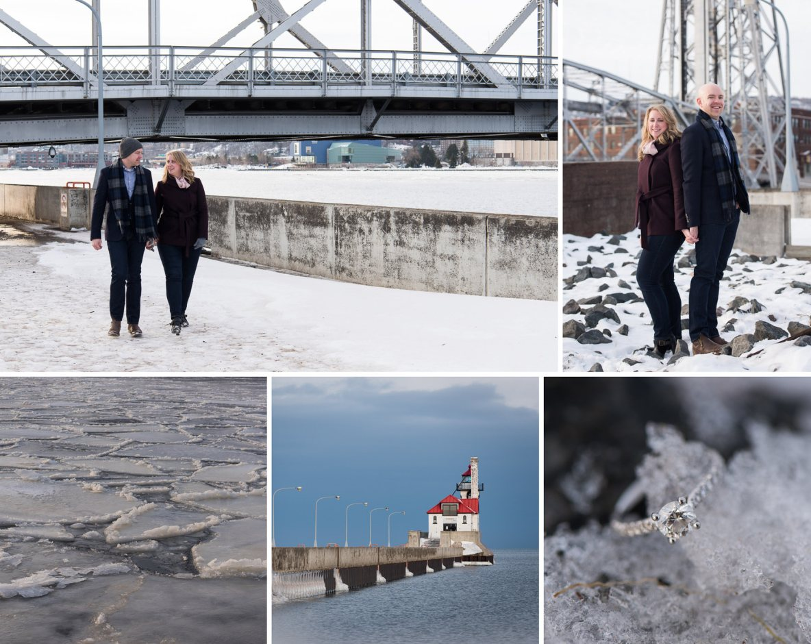 Outdoor winter engagement photos with Lake, snow and lift bridge in the background.