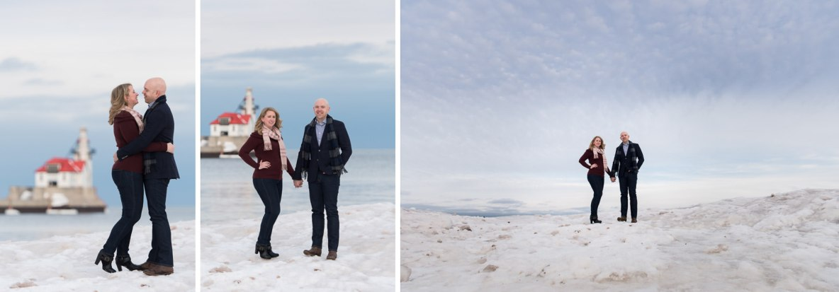 Engagement photos taken outside with snow and Lake Superior in the background.
