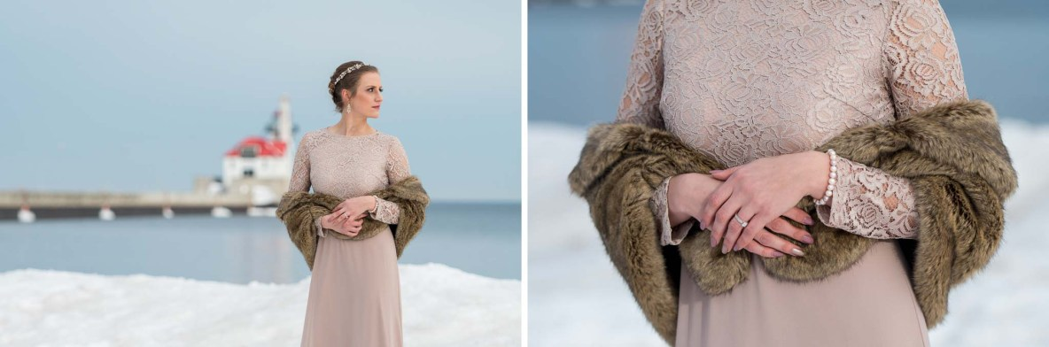 Winter wedding photos by Lake Superior in Duluth, MN.