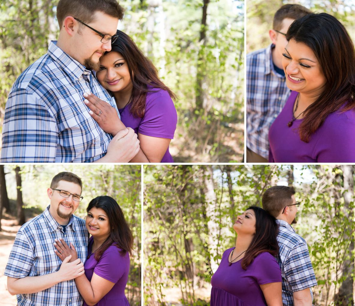Photos of the engaged couple outside in nature with green trees in background.