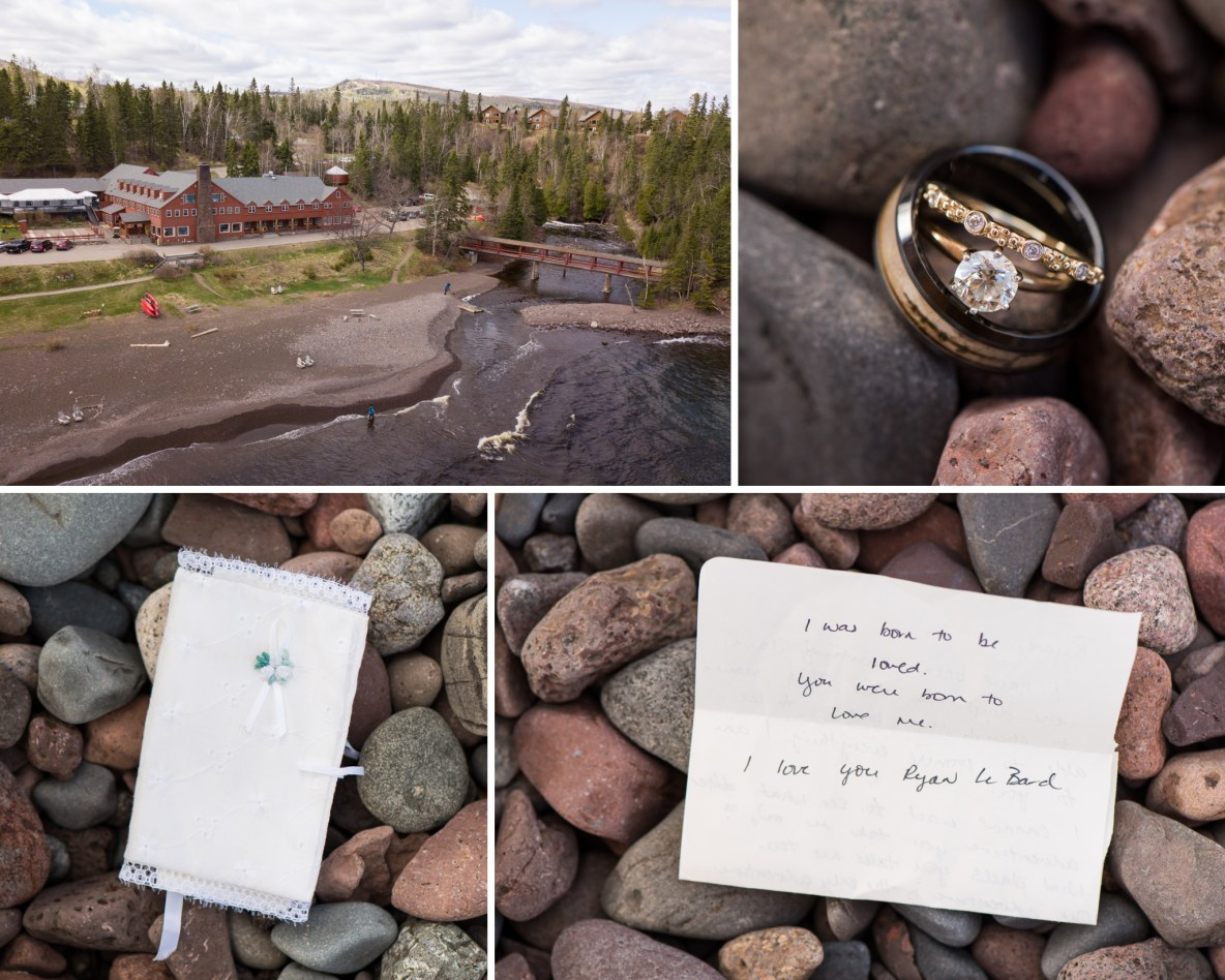 Photos of the resort, rings, and a handwritten note.