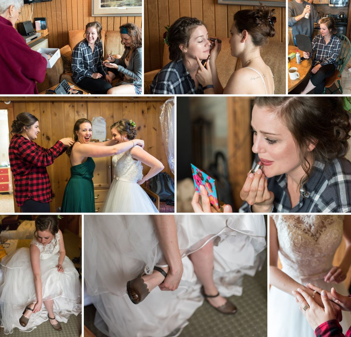 Photos of the bride getting ready at the resort.