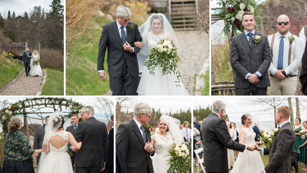 Photos of the bride walking down the aisle with her father with lake in the background.