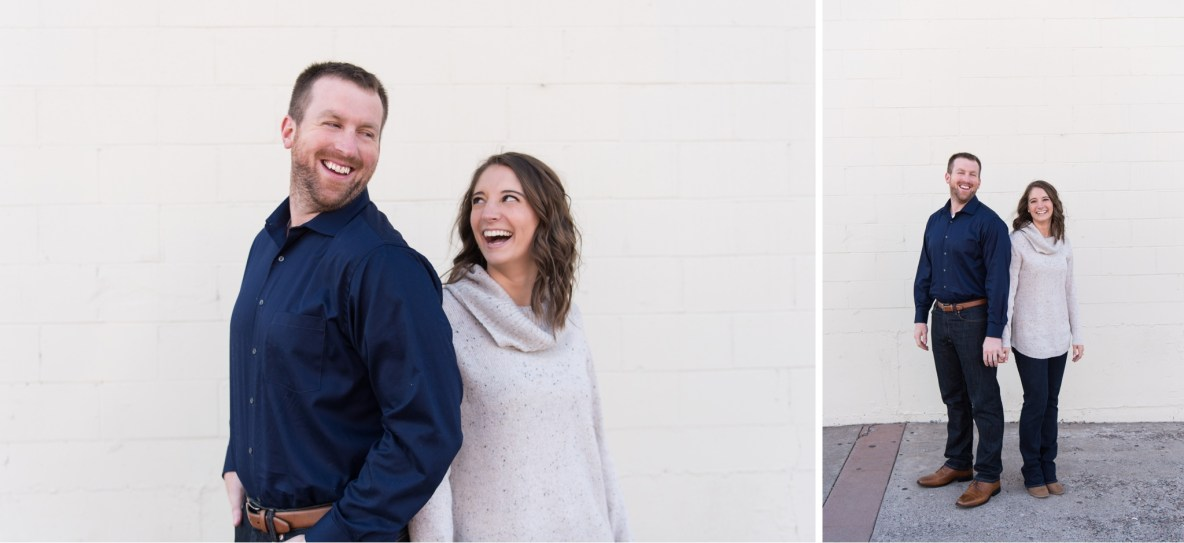 Photos of the engaged couple with white wall in background.