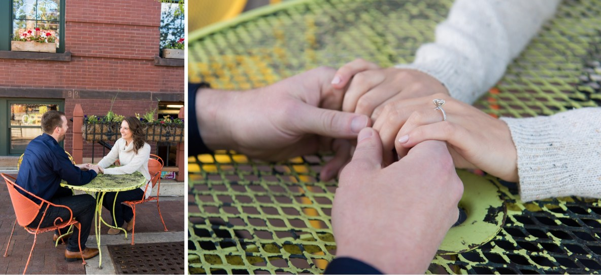 Photos of the engaged couple sitting at a table with building in background.