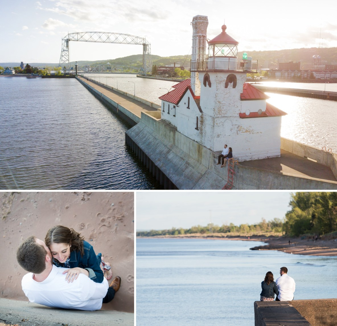 Photos of the engaged couple in Canal Park with Lake Superior in background.