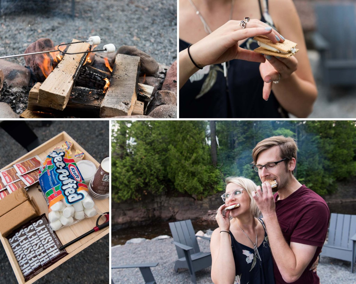 Photos of the engaged couple making and eating s'mores.