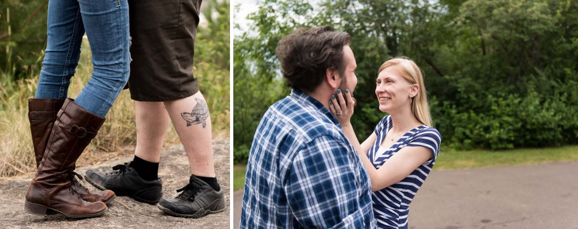 Photos of the engaged couple near Enger Tower