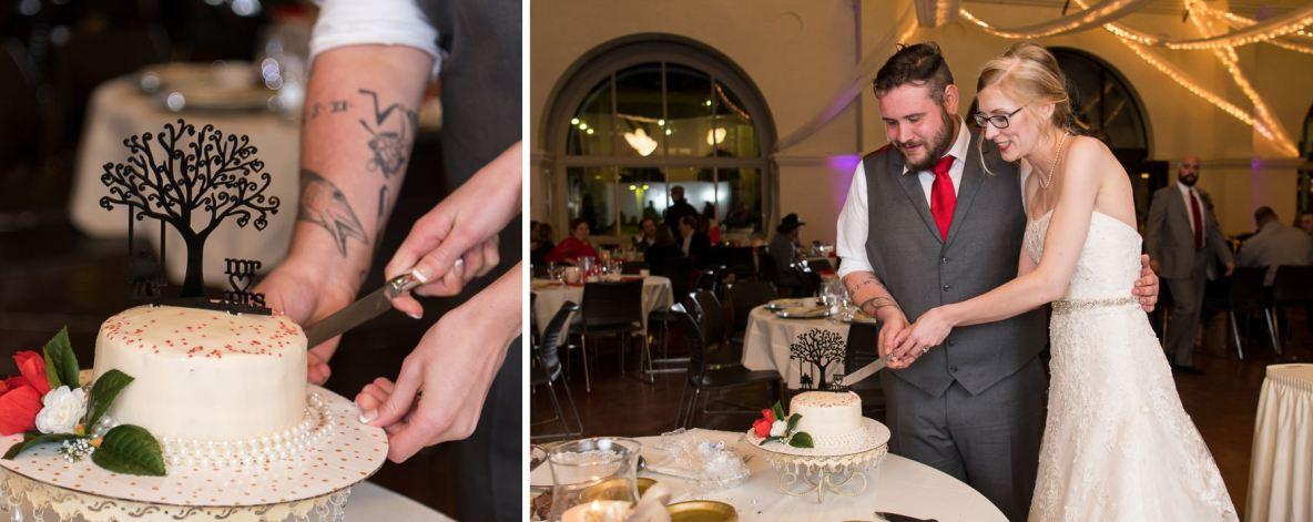 Lex and Maddie cutting the wedding cake.