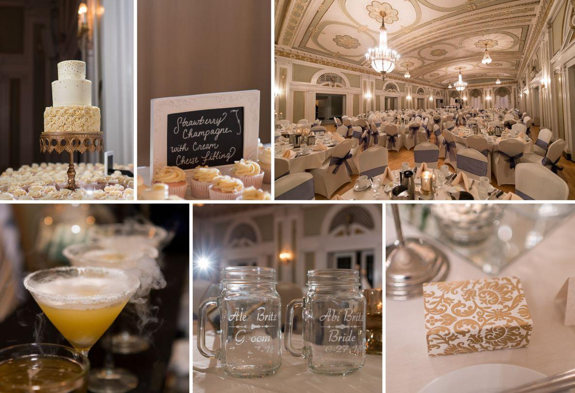 Photos of wedding reception decor.