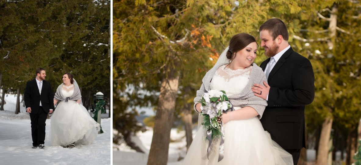 Outdoor photos of Mike and Sara in the snow.