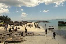 The busy beach near the fish market in Dar es Salaam, on the Indian Ocean.