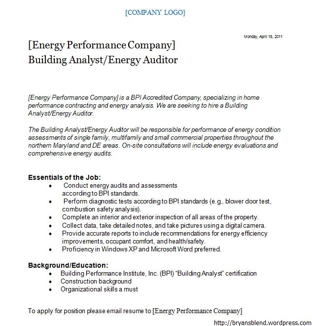 Energy Auditor Cover Letter