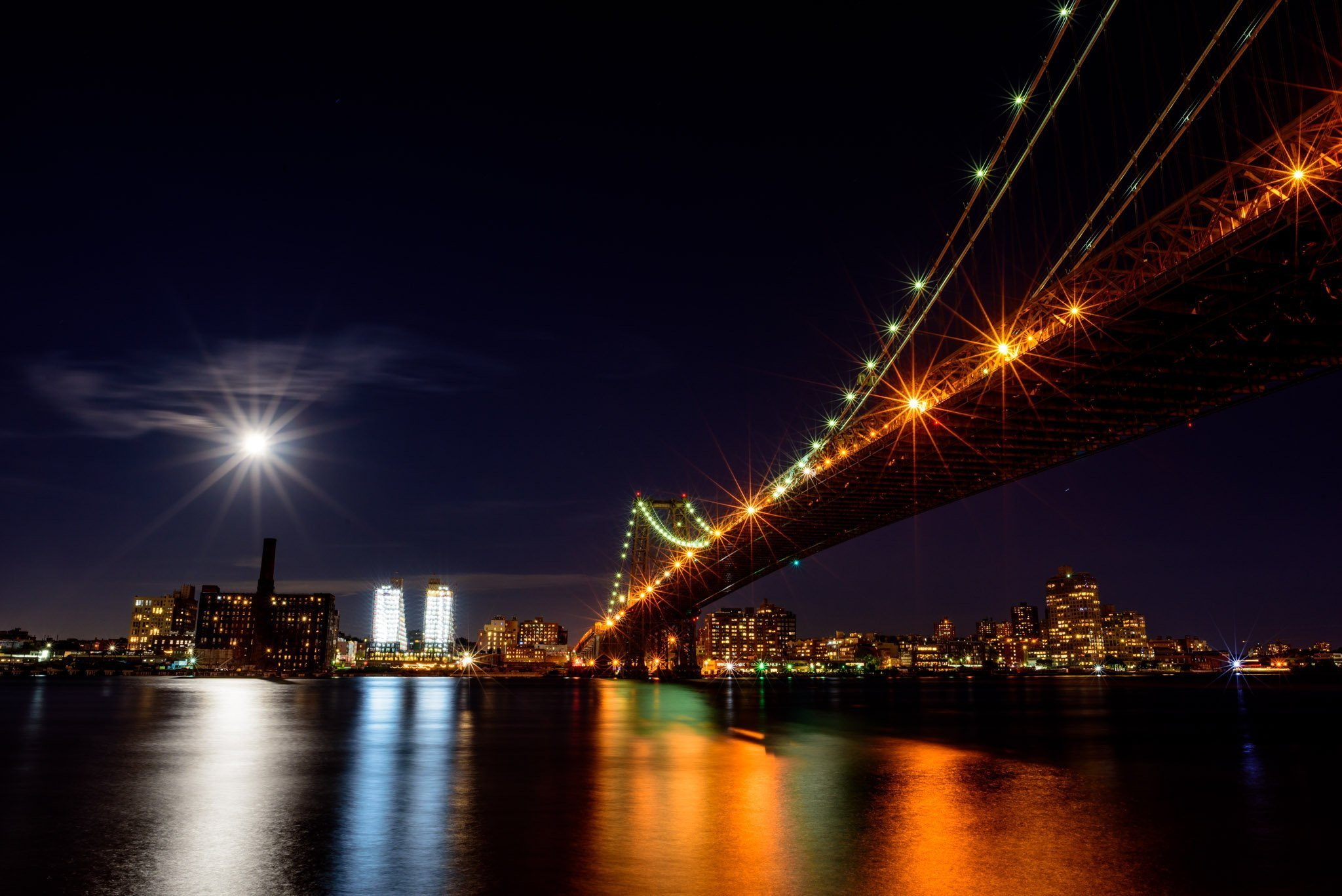 full moon and the Williamsburg Bridge