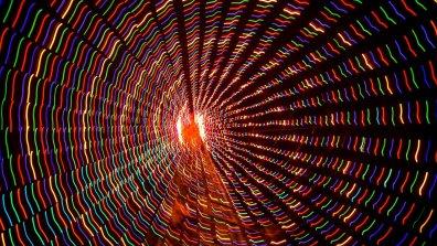Trail of Lights, xmas tree, spinning