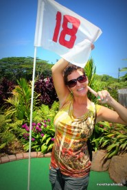 We went to this great Mini Golf close to Princeville Rance. Amy got a hole-in-one on the 18th hole.