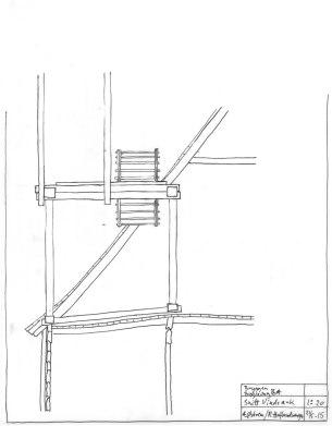 Arbeidsteikning av arka. Legg merke til at sperret i hovedtaket danner ein diagonal som stiver av konstruksjonen.