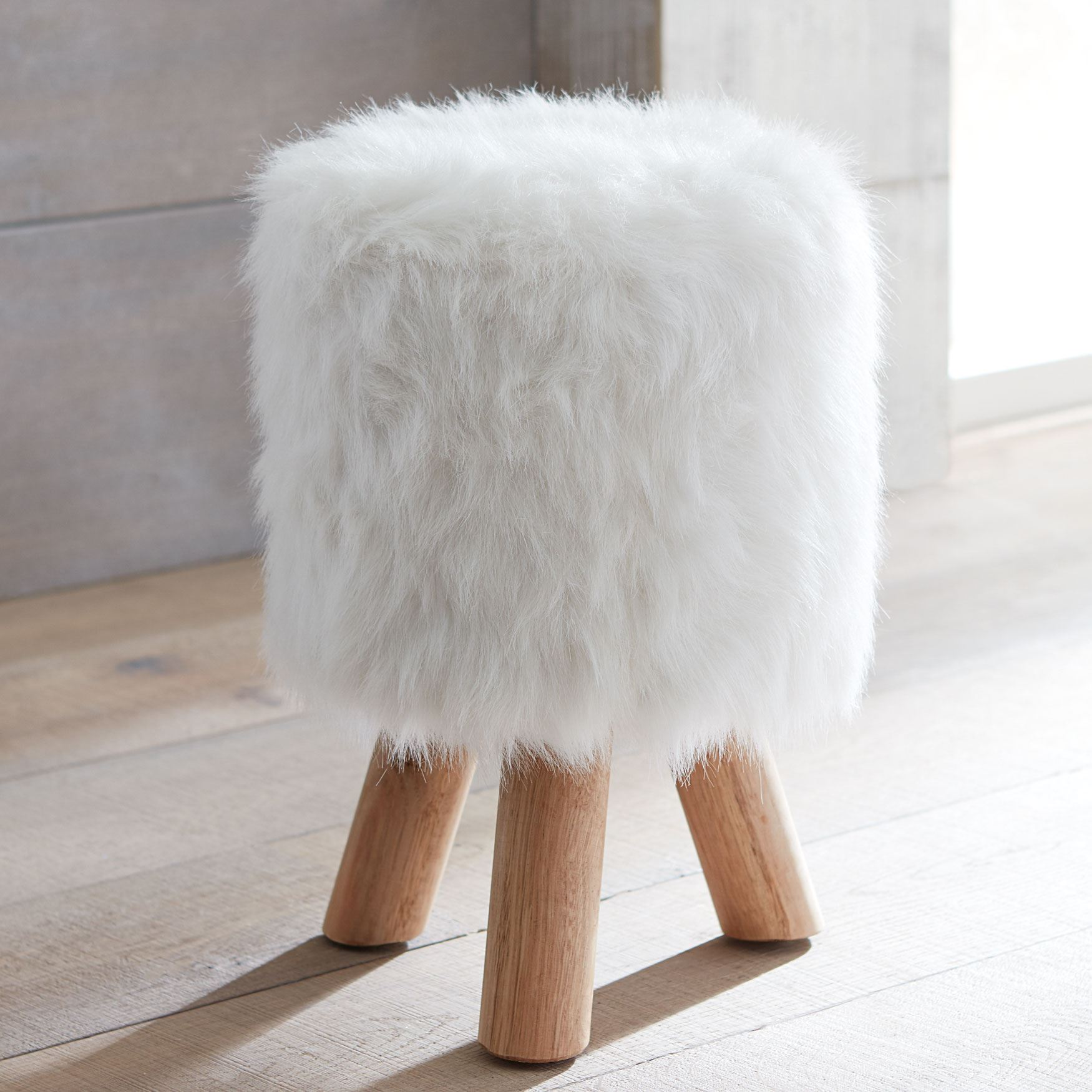 Fuzzy White Chair Tae Fuzzy Footstool Plus Size Furniture Brylane Home